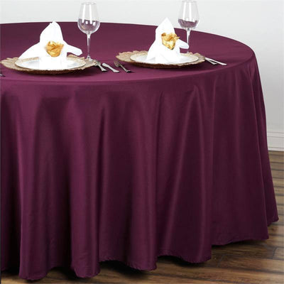 108 inch Eggplant Polyester Round Tablecloth