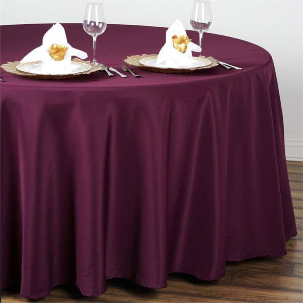 "108"" Eggplant Polyester Round Tablecloth"