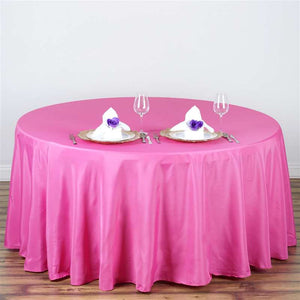 "108"" FUSHIA Wholesale Polyester Round Tablecloth For Wedding Banquet Restaurant"