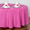 "108"" Fushia Polyester Round Tablecloth"