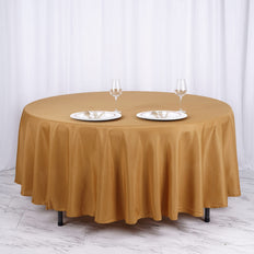 "108"" Gold Polyester Round Tablecloth"