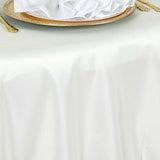 "108"" Ivory Polyester Round Tablecloth"
