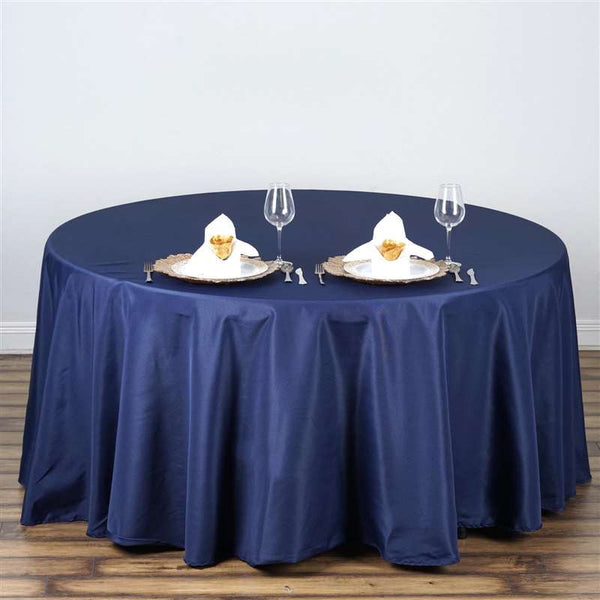 "108"" Navy Blue Polyester Round Tablecloth"