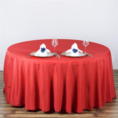 "108"" RED Wholesale Polyester Round Tablecloth For Wedding Banquet Restaurant"