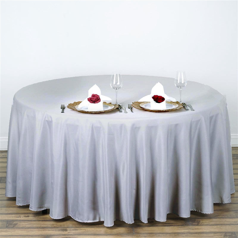 """Wedding Tablecloths: 108"""" SILVER Wholesale Polyester Round Tablecloth For"""