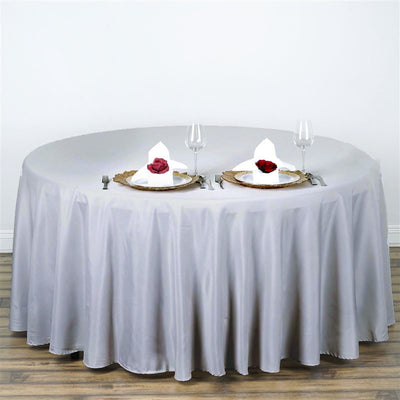 "108"" SILVER Wholesale Polyester Round Tablecloth For Wedding Banquet Restaurant"
