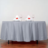 "108"" Silver Polyester Round Tablecloth"