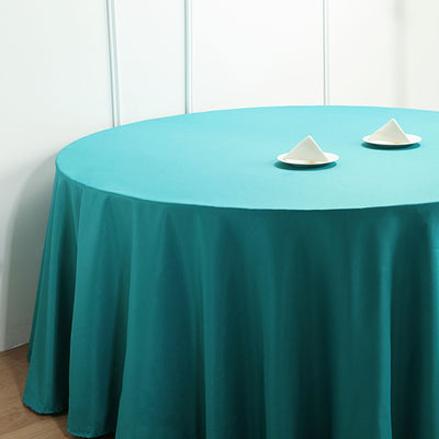 "108"" Teal Polyester Round Tablecloth"