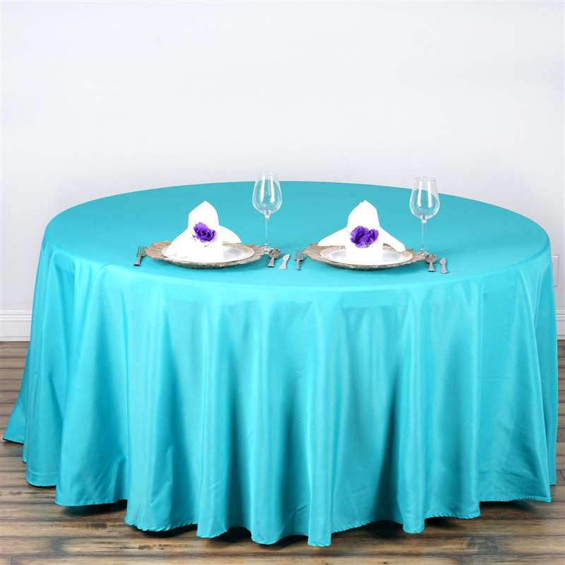 """Wedding Tablecloths: 108"""" TURQUOISE Wholesale Polyester Round Tablecloth For"""