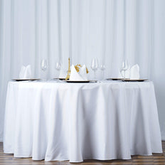"108"" White 220 GSM Seamless Premium Polyester Round Tablecloth"