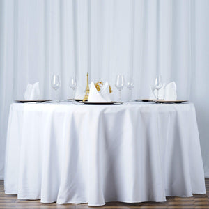 "108"" White Seamless Premium Polyester Round Tablecloth"