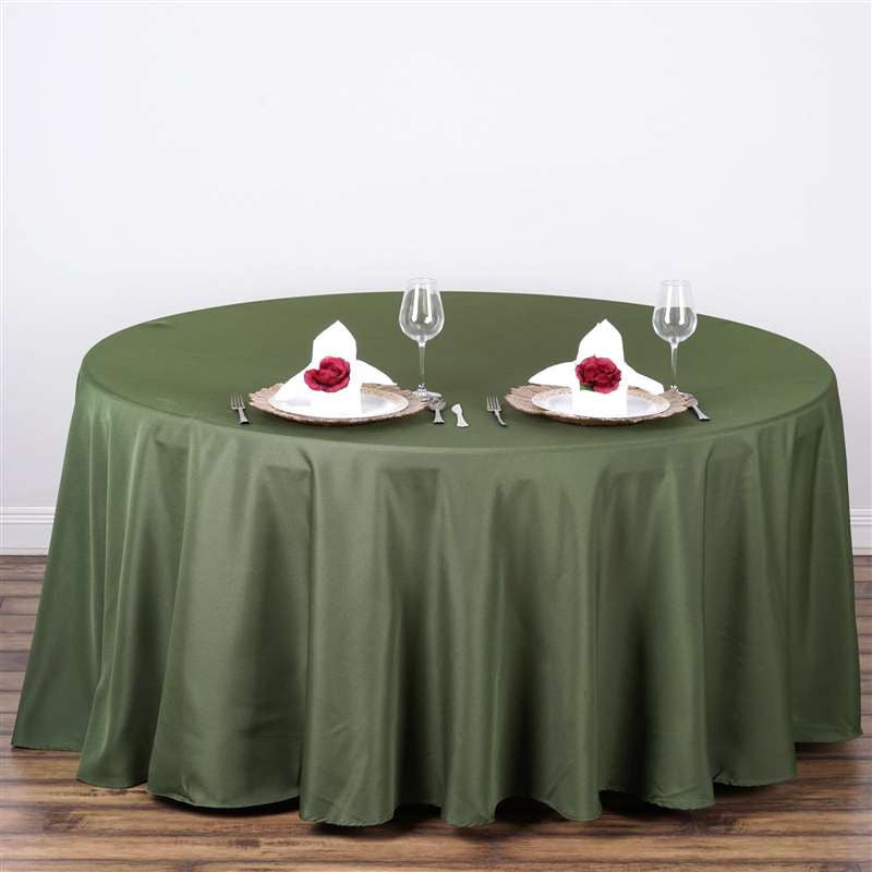 108 Quot Moss Green Polyester Round Tablecloth Tablecloths
