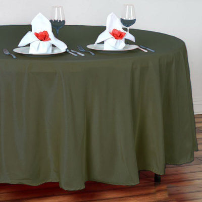 "108"" Moss Green Polyester Round Tablecloth"