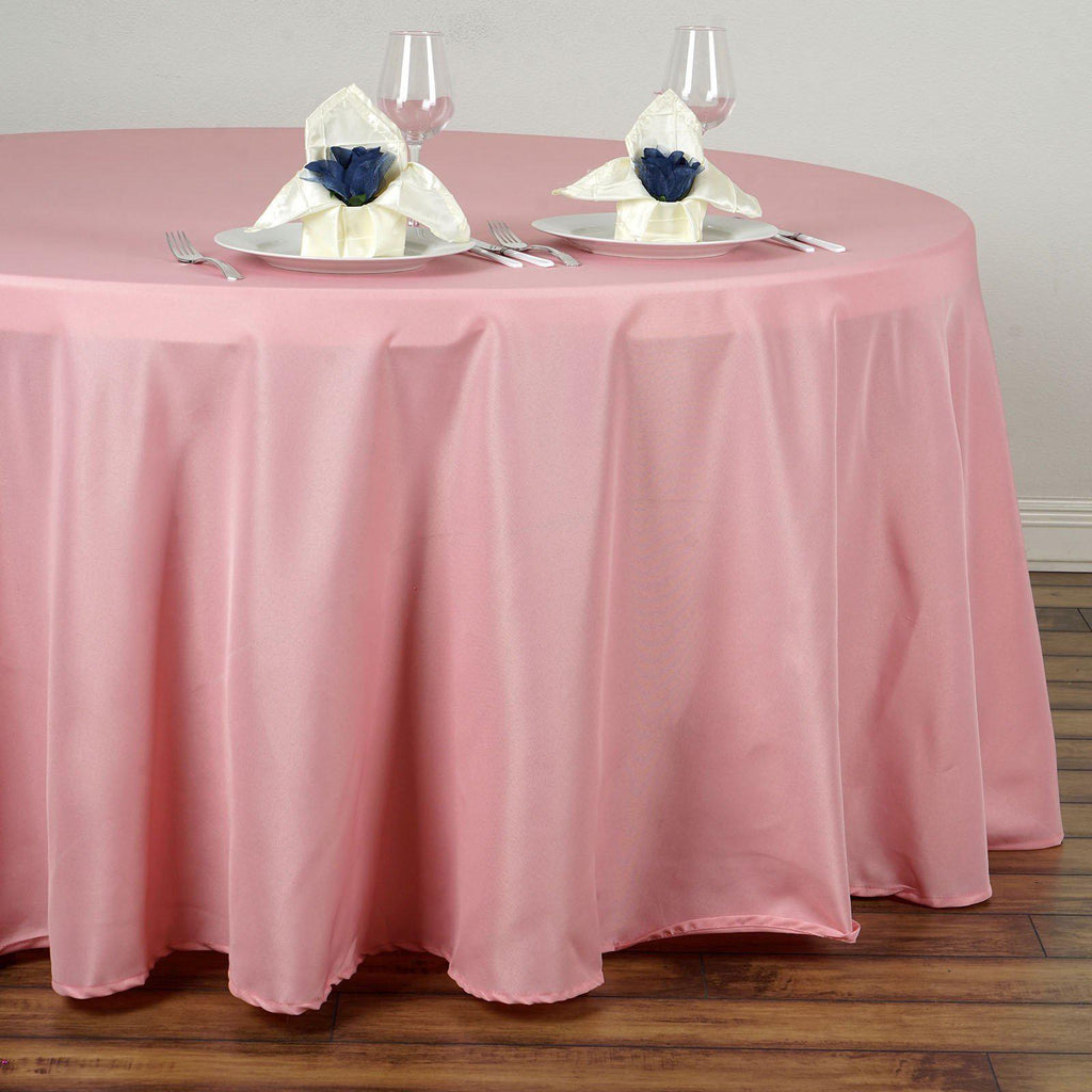 120 Quot Rose Quartz Wholesale Polyester Round Tablecloth For