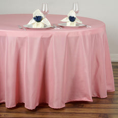 "120"" ROSE QUARTZ Wholesale Polyester Round Tablecloth For Wedding Banquet Restaurant"