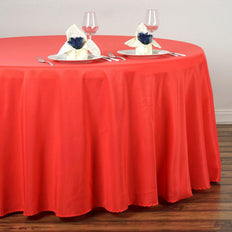 "120"" CORAL Wholesale Polyester Round Tablecloth For Wedding Banquet Restaurant"