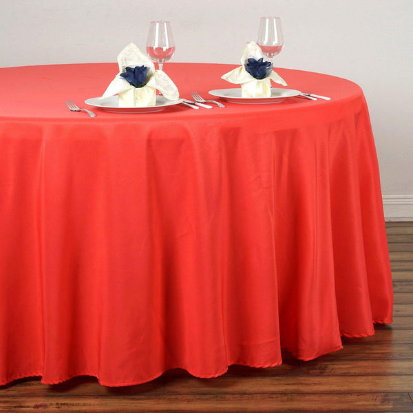 "120"" Coral Red Polyester Round Tablecloth - Clearance SALE"