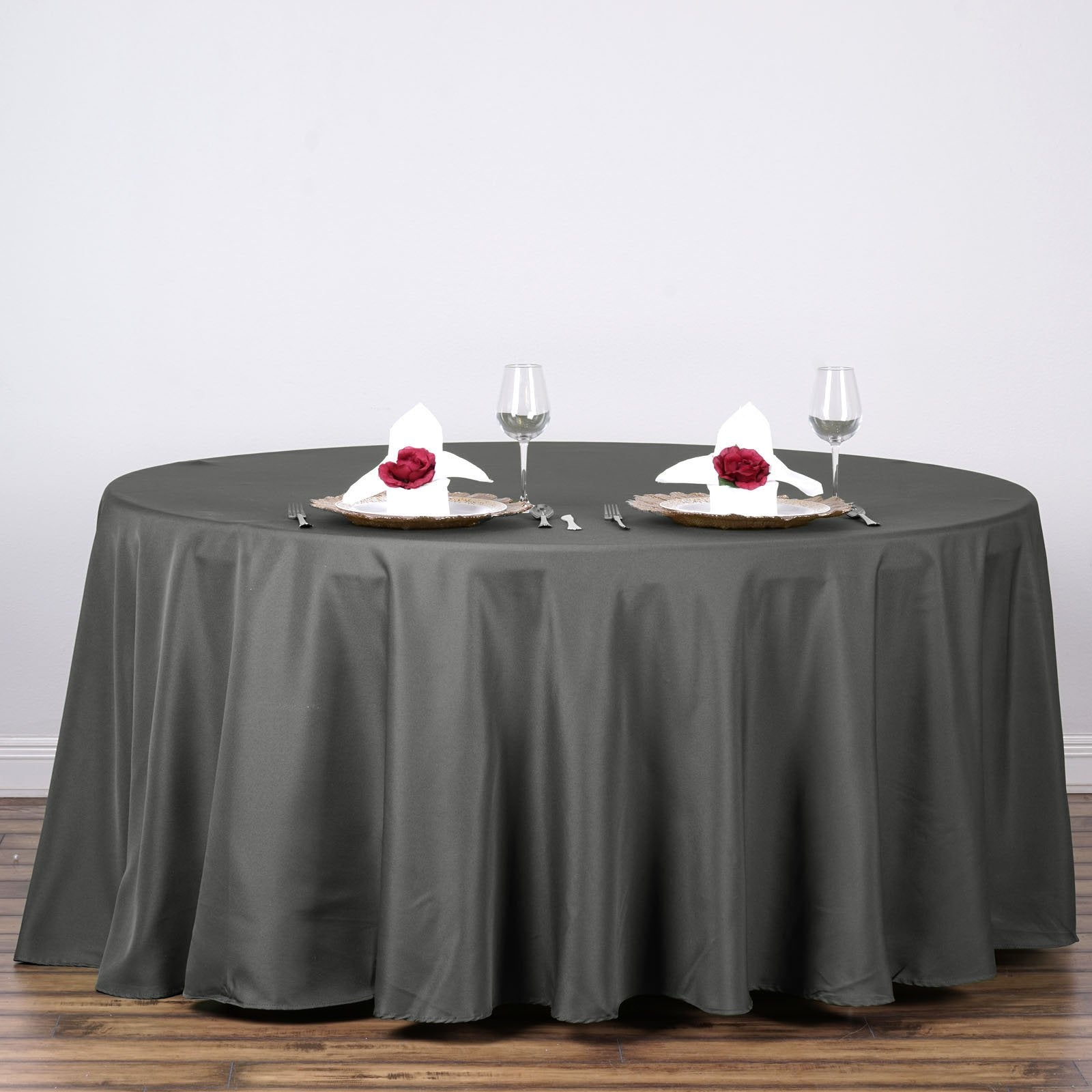 120 Quot Charcoal Grey Wholesale Polyester Round Tablecloth