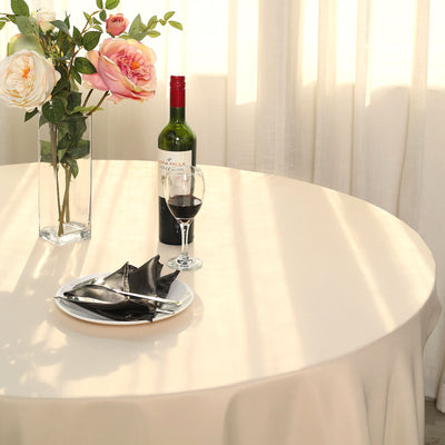 "120"" Beige Polyester Round Tablecloth"