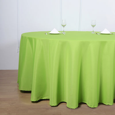 120 inch Apple Green Polyester Round Tablecloth