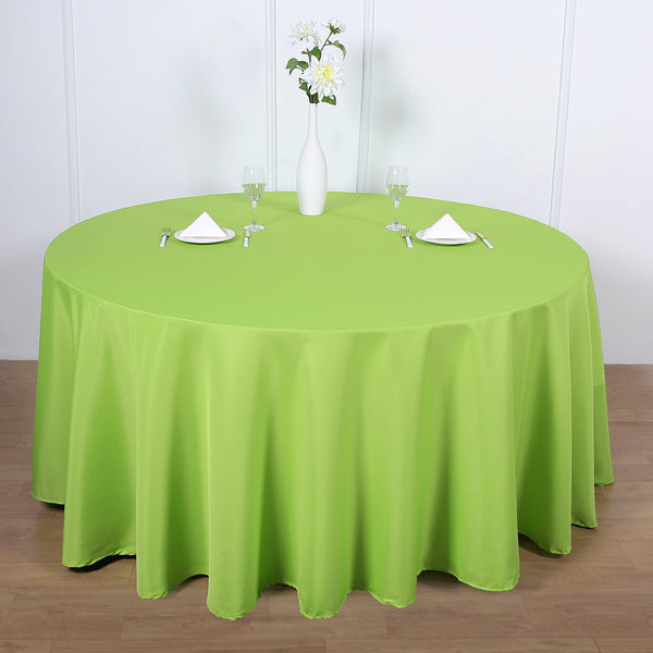 "120"" Apple Green Polyester Round Tablecloth"