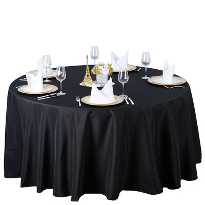"120"" Black Seamless Premium Polyester Round Tablecloth"