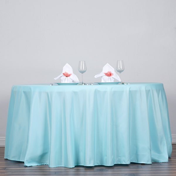 "120"" Blue Polyester Round Tablecloth"