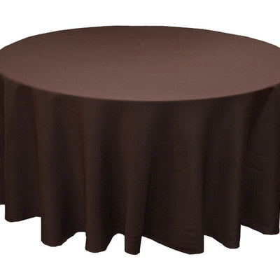 "120"" CHOCOLATE Wholesale Polyester Round Tablecloth For Wedding Banquet Restaurant"