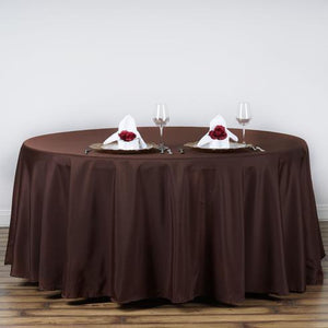 "120"" Chocolate Polyester Round Tablecloth"
