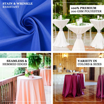 120 inch Black 220 GSM Seamless Premium Polyester Round Tablecloth