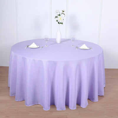 120 inch Lavender Polyester Round Tablecloth
