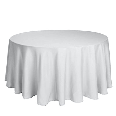 "120"" Silver Polyester Round Tablecloth"