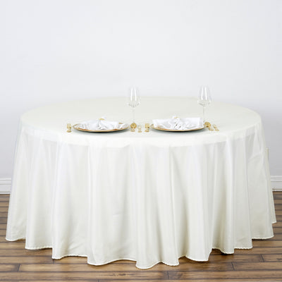 "132"" Ivory Polyester Round Tablecloth"