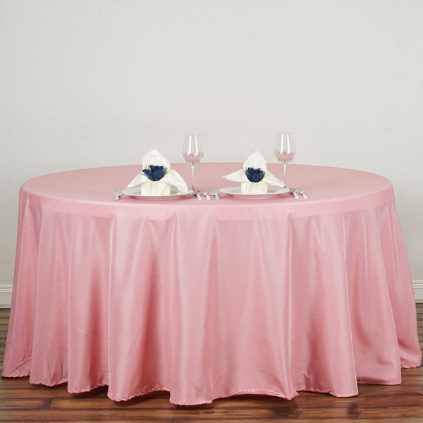 "132"" Rose Quartz Polyester Round Tablecloth - Clearance SALE"