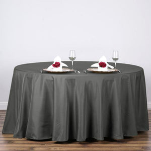 "132"" Charcoal Grey Wholesale Polyester Round Tablecloth"