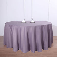 "132"" Violet Amethyst Polyester Round Tablecloth"