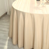 "132"" Beige Polyester Round Tablecloth"