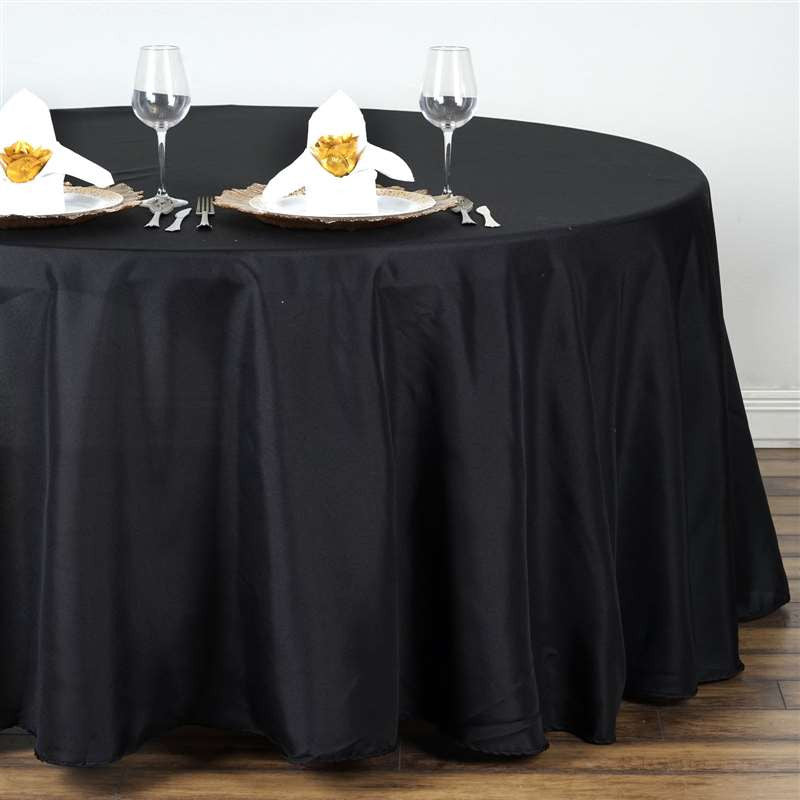 132 Quot Black Wholesale Polyester Round Tablecloth For