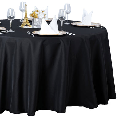 "132"" Seamless Premium BLACK Wholesale Polyester Round Tablecloth For Wedding Banquet Restaurant"