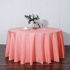 132 inch Coral Polyester Round Tablecloth