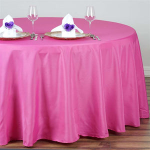 "132"" FUSHIA Wholesale Polyester Round Tablecloth For Wedding Banquet Restaurant"