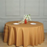 "132"" Gold Polyester Round Tablecloth"