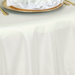 "132"" Ivory Seamless Premium Polyester Round Tablecloth"