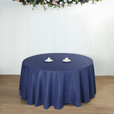 "132"" Navy Blue Polyester Round Tablecloth"