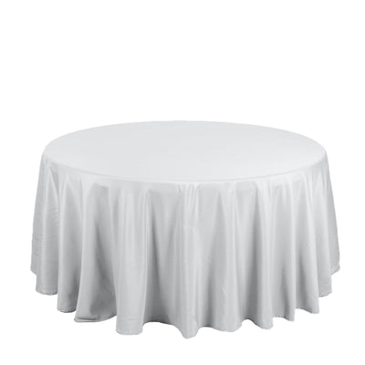 "132"" Silver Polyester Round Tablecloth"