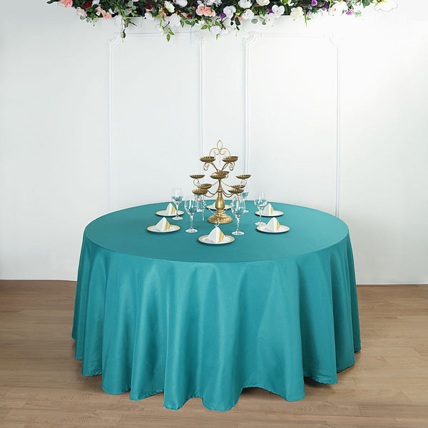 "132"" Teal Polyester Round Tablecloth"