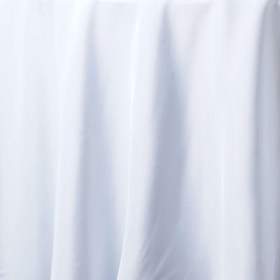 "132"" White Seamless Premium Polyester Round Tablecloth"