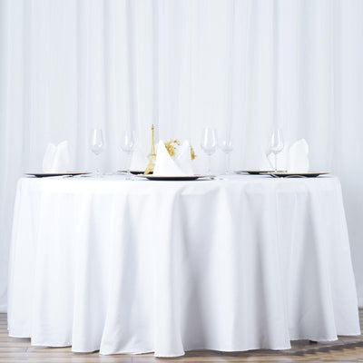 "132"" Seamless Premium WHITE Wholesale Polyester Round Tablecloth For Wedding Banquet Restaurant"