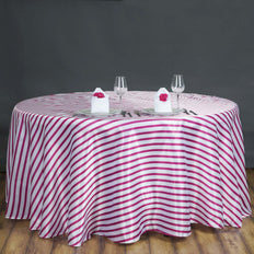 "120"" Stripe Wholesale SATIN Banquet Linen Wedding Party Restaurant Tablecloth - White/Fushia"