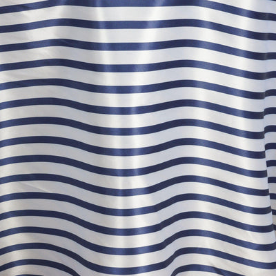 "120"" Stripe Wholesale SATIN Banquet Linen Wedding Party Restaurant Tablecloth - White/Navy"